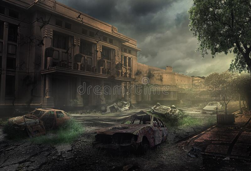 An empty city with a foreground for a long abandoned car wreck, and a background of old damaged buildings royalty free stock photo