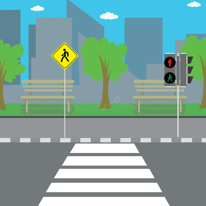 Empty city street,crosswalk with road sign and traffic light vector illustration