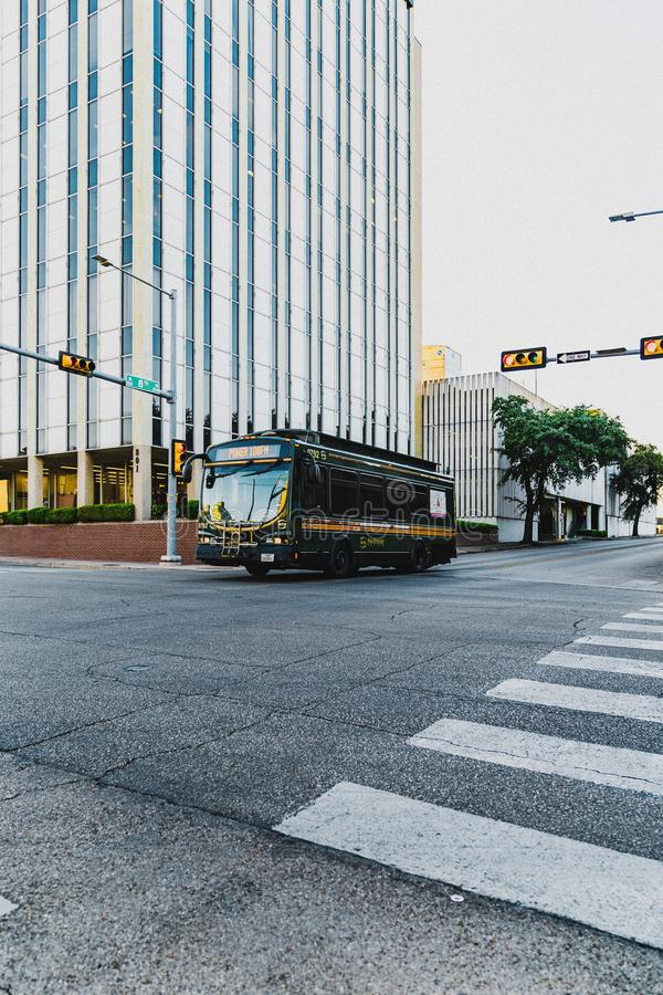 Empty City. WACO, UNITED STATES - Oct 17, 2019: Downtown Waco when the traffic is low royalty free stock image
