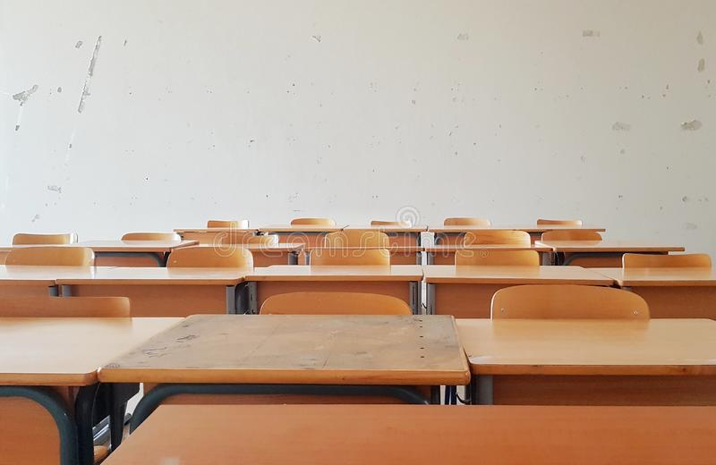 Empty Class. An empty old classroom in one of the universities in Lebanon royalty free stock images