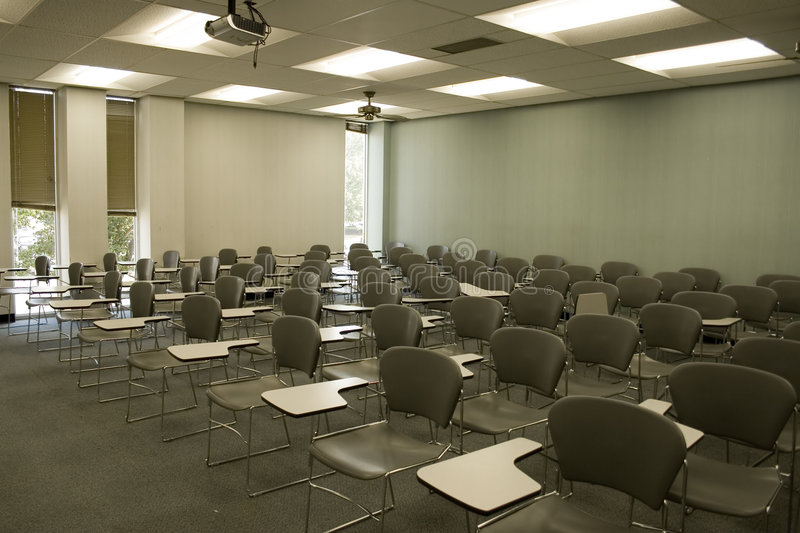 Empty Classroom. Empty chairs in classroom royalty free stock photo
