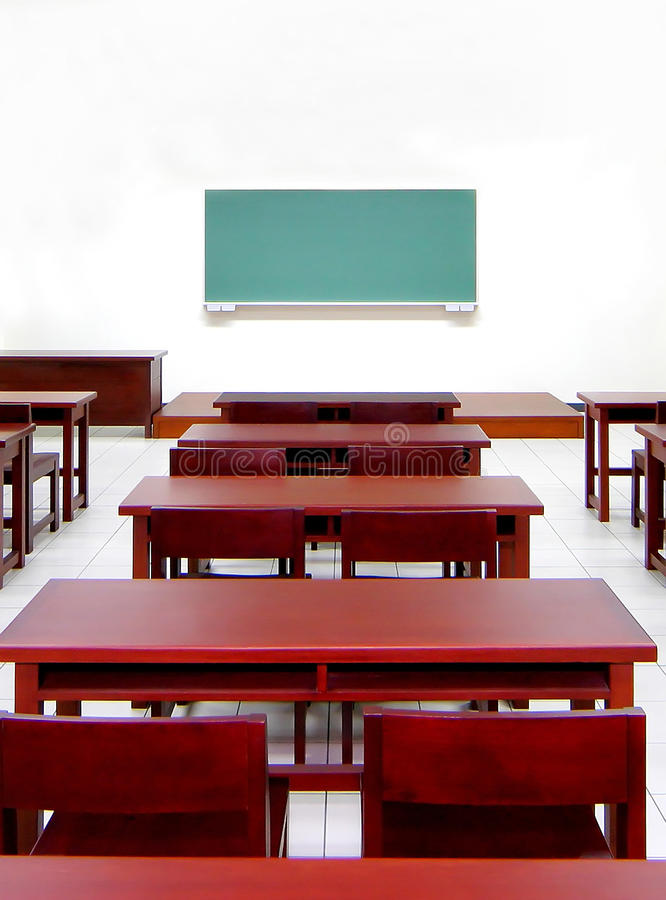Empty classroom. The holiday time empty classroom go to vacation royalty free stock photo