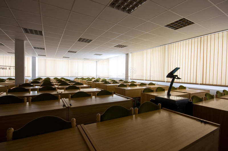Empty classroom. Big empty classroom after lessons royalty free stock photography