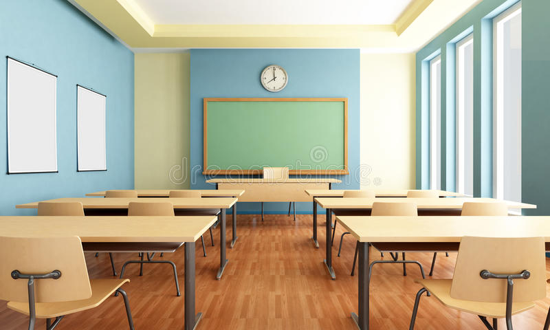 Empty classroom stock illustration