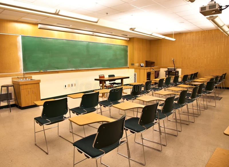 Empty Classroom. An empty classroom with blackboard royalty free stock photos