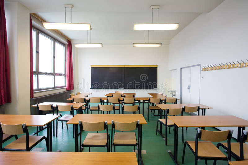 Empty classroom. Empty new classroom for students stock photography