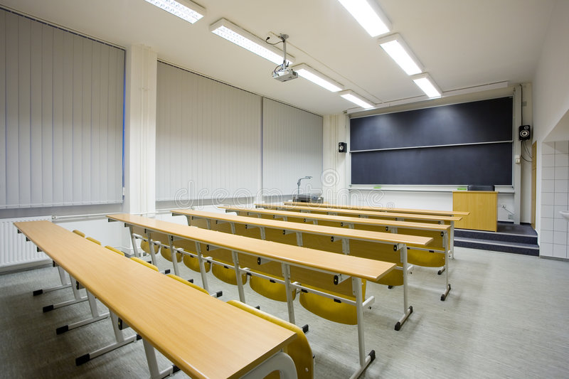 Empty classroom stock images