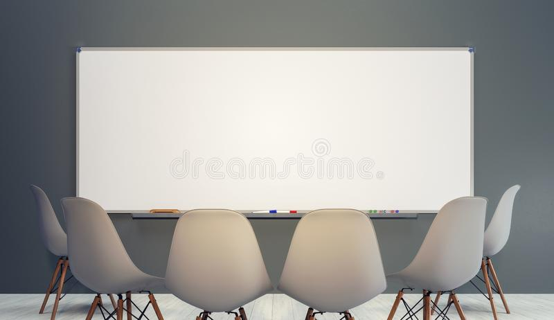 Empty classroom with chairs and big clean white board stock photo