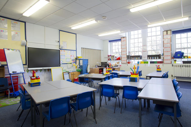 Empty Classroom. A horizontal image of an empty primary school classroom. The setting is typically British