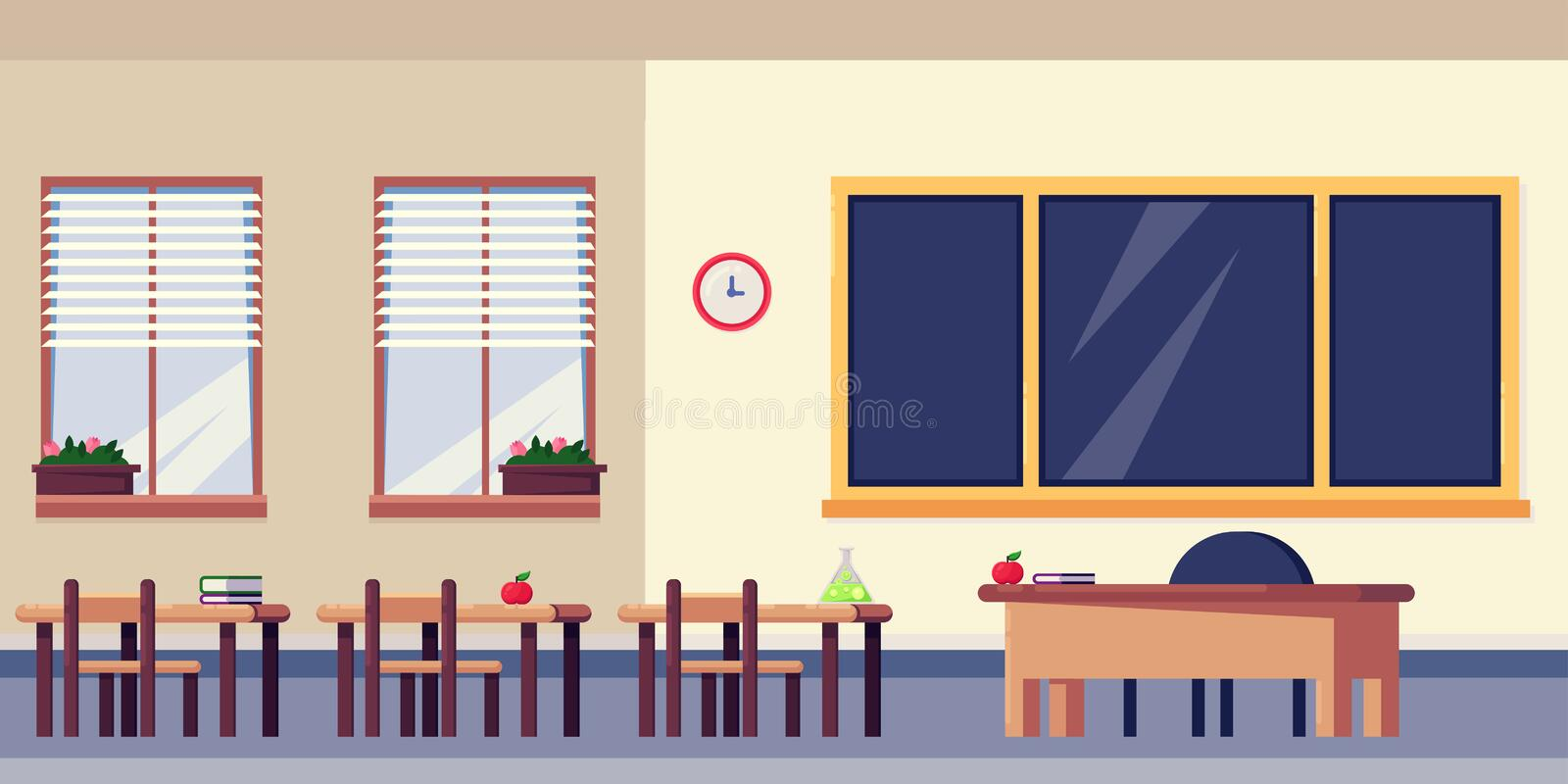 Empty classroom interior, vector flat illustration. School furniture and design elements. Back to school background royalty free illustration