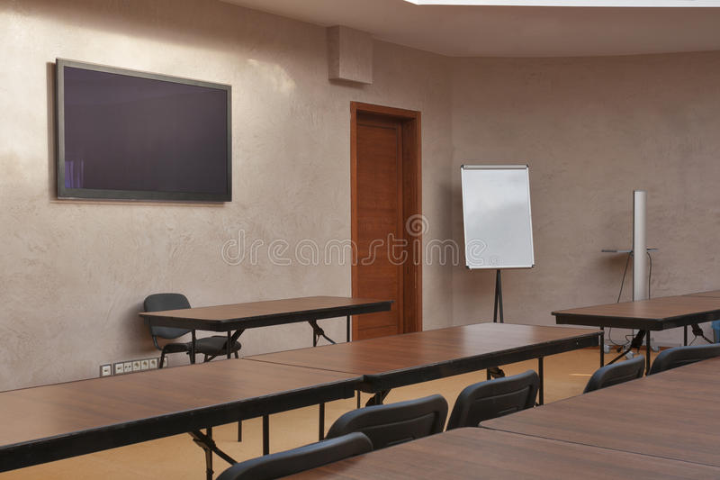 Empty classroom. From rear view stock images