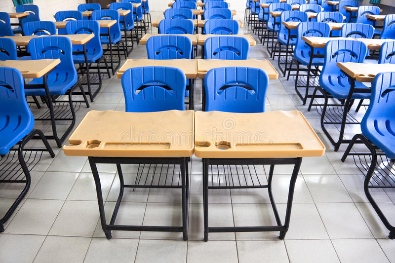 Empty classroom at school. Empty classroom with chair and desk at school stock image