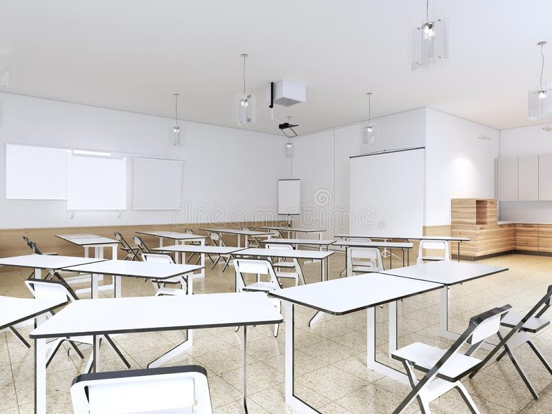 Empty classroom for students with modern equipment and kitchen stock illustration
