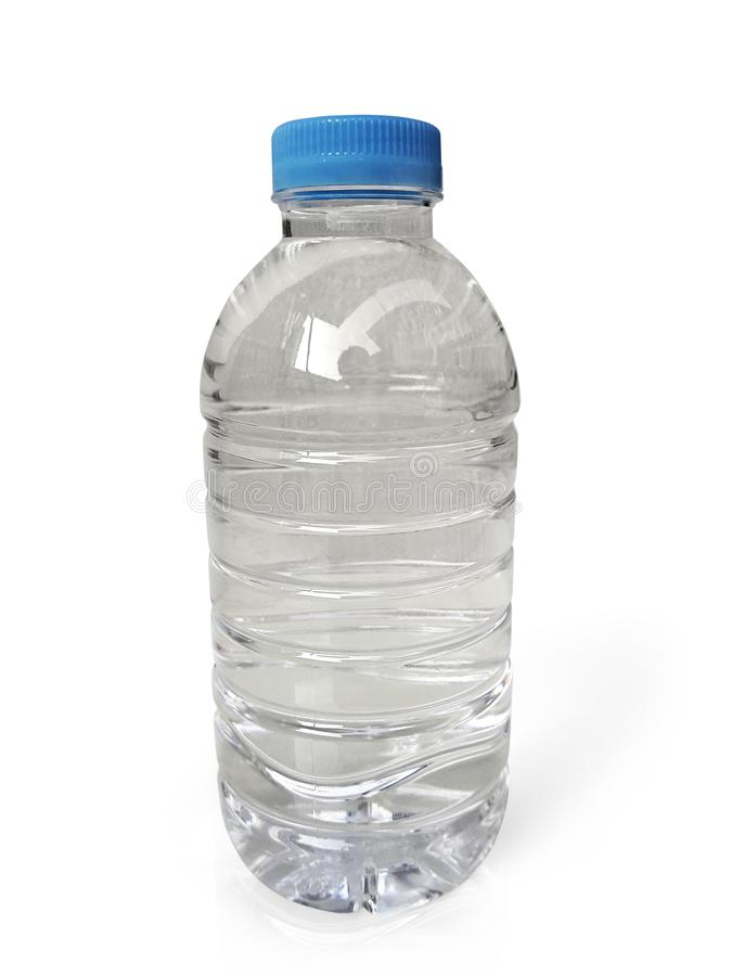 Empty clean and clear water bottle isolated on with isolated on a white background stock photography