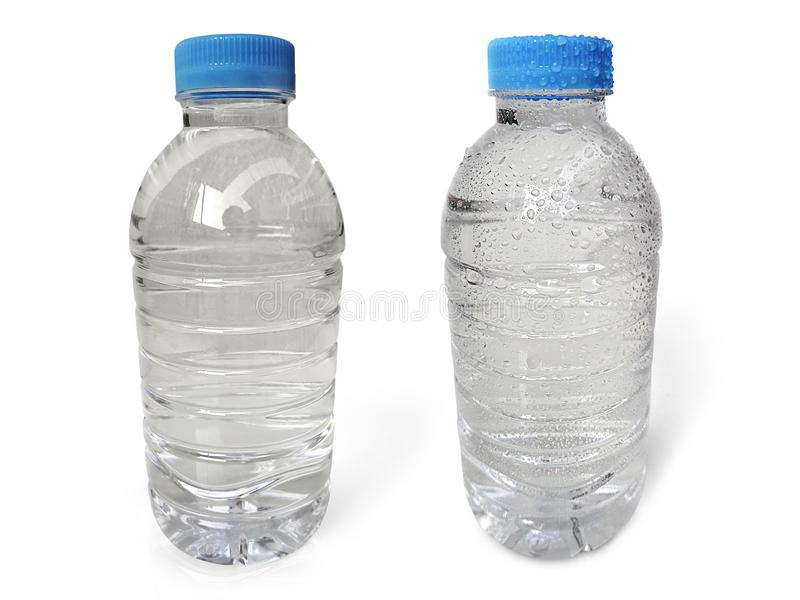 Empty clean and clear water bottle isolated on with isolated on a white background. For design In the media Advertising royalty free stock photo