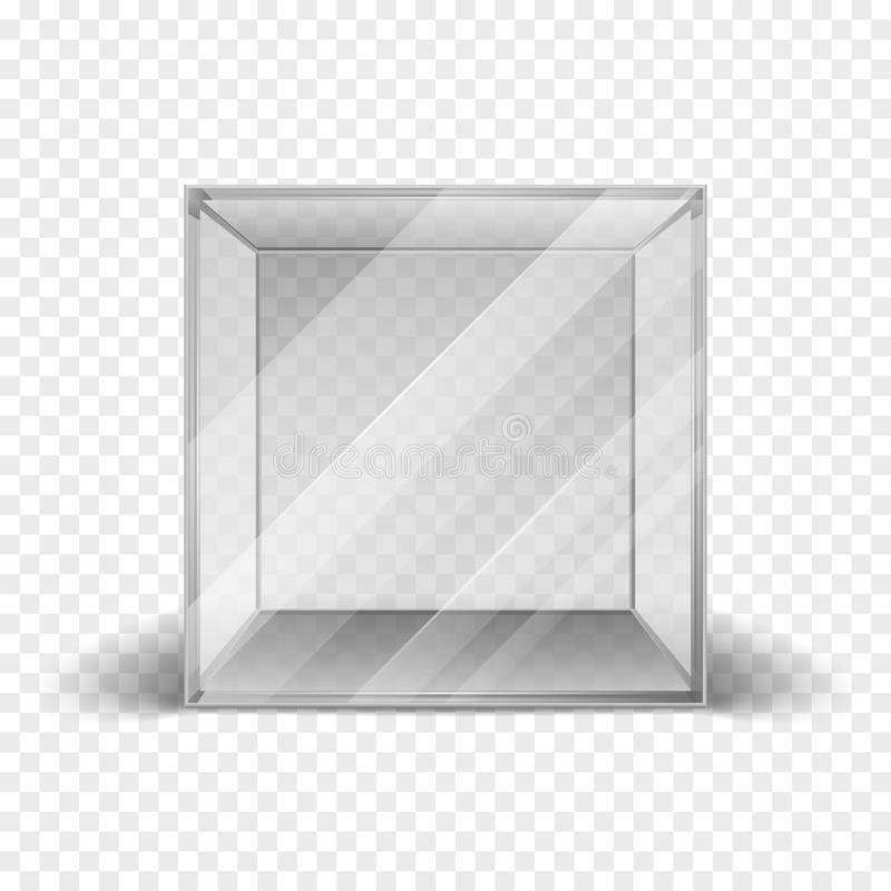 Empty clean glass box cube showcase isolated on checkered background. Mock up clean frame for gallery. Vector illustration royalty free illustration