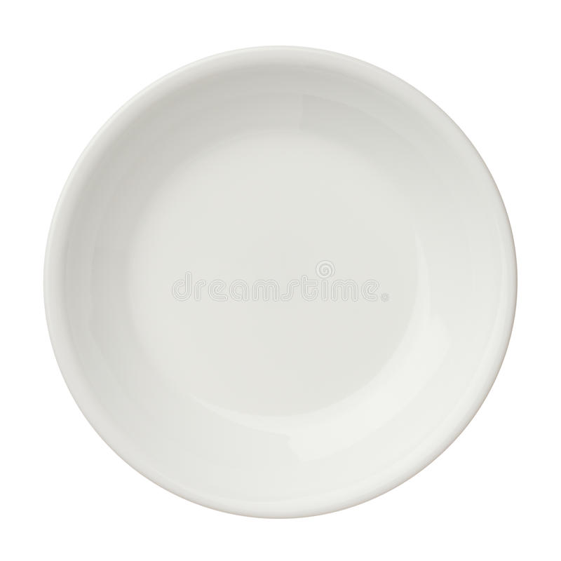 Empty clean plate isolated on white background, top view royalty free stock photos
