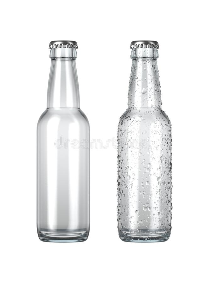 Empty Clear Beer Bottle. A plain clear glass beer bottle next to another with droplets of condensation on an isolated white studio background - 3D render vector illustration