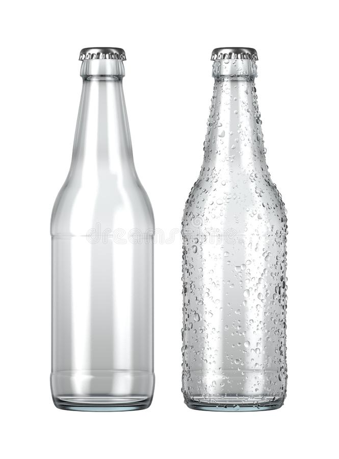 Empty Clear Beer Bottle. A plain clear glass beer bottle next to another with droplets of condensation on an isolated white studio background - 3D render stock illustration