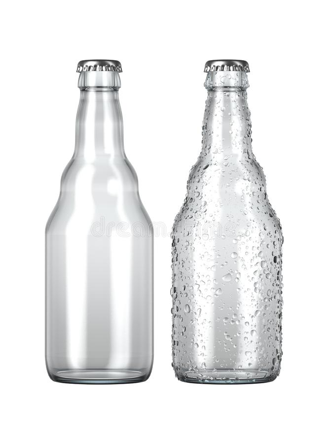 Empty Clear Beer Bottle. A plain clear glass beer bottle next to another with droplets of condensation on an isolated white studio background - 3D render royalty free illustration