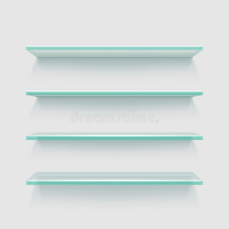 Empty clear glass store expo shelves, showcase product display vector illustration. Rectangle black glass shelves for interior home vector illustration