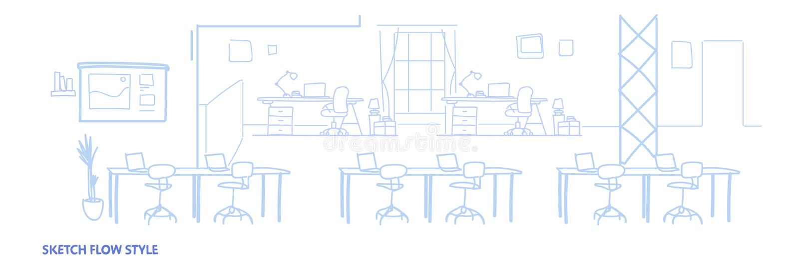 Empty co-working office interior modern coworking open space center creative workplace environment horizontal banner stock illustration