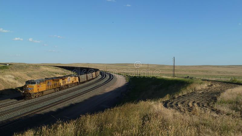 Empty coal train and rail cars in Wyoming, USA royalty free stock image