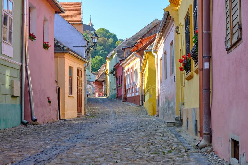 Streets of Sighisoara stock photos