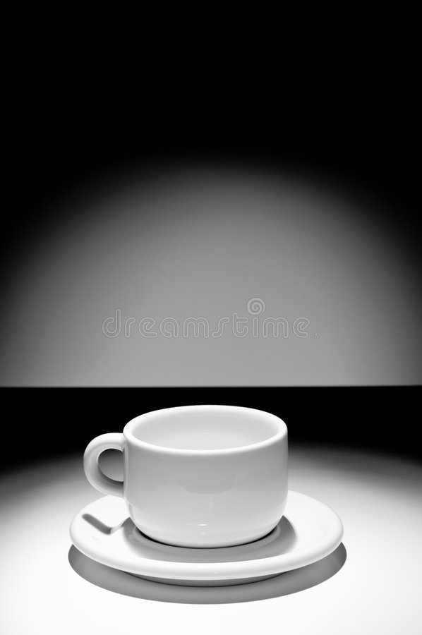 Empty coffe cup. Black and white picture of empty coffe cup royalty free stock images