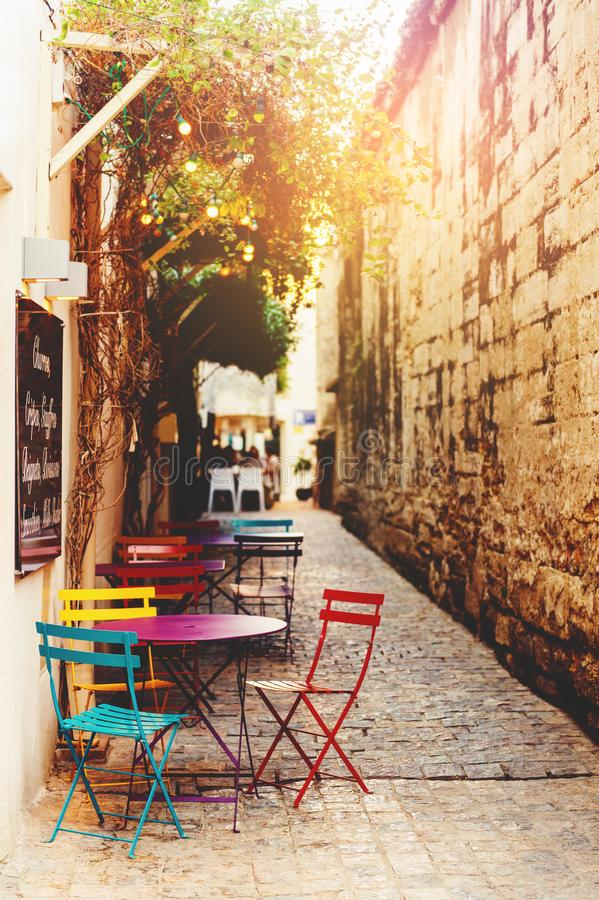 Empty coffee terrace with tables and chairs stock image