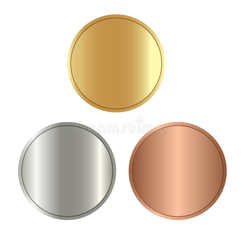Empty coins, games medals color royalty free illustration