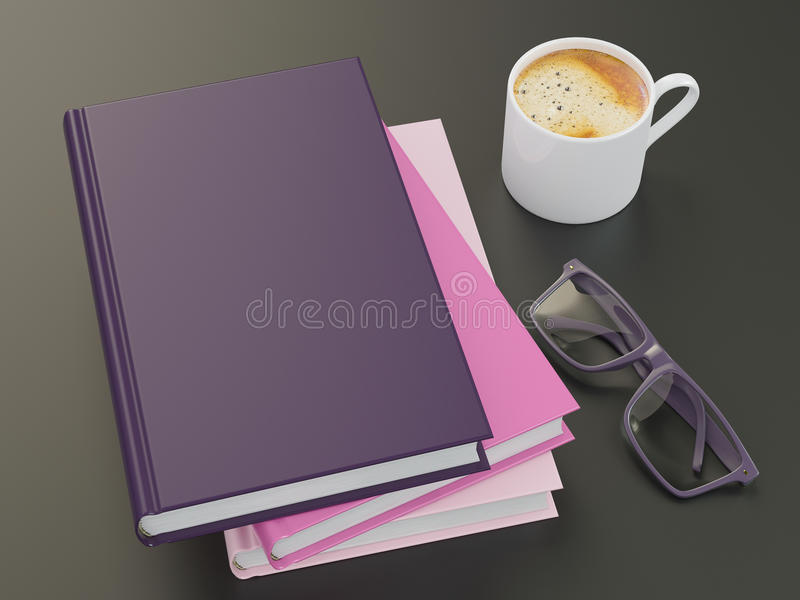Empty color book mockup template on black background royalty free stock photography