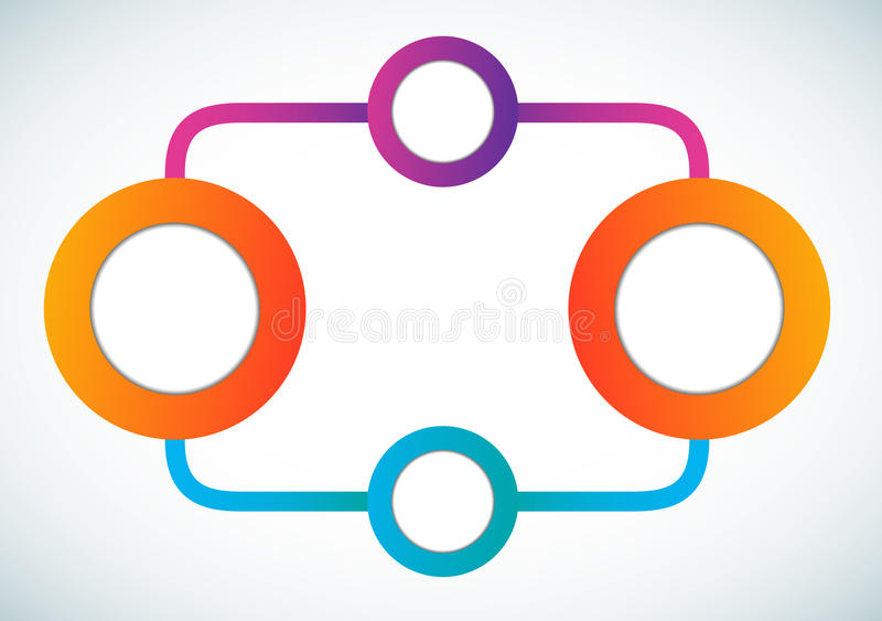 Empty color circle marketing flowchart. Vector illustration royalty free illustration