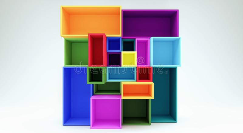 Empty Colorful Shelves 3d Render. 3d illustration royalty free illustration