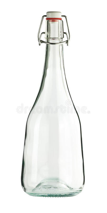 Empty colorless glass bottle stock image