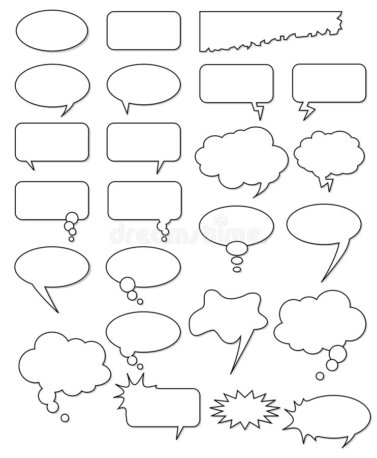 Bubble cartoon comic book speech vector comics empty text box thought elements element cloud talk shape white black set collection vector illustration