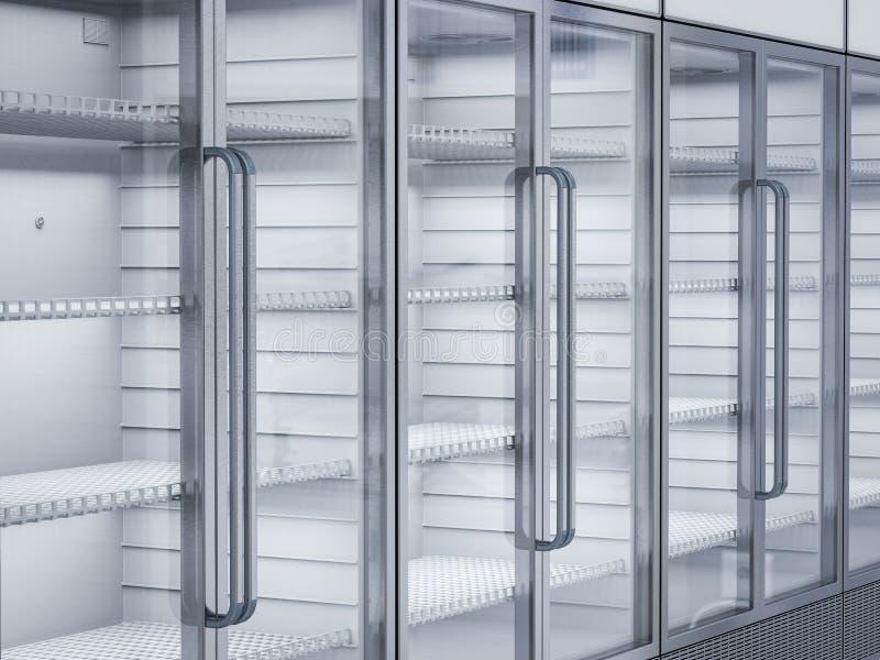 Empty commercial fridges in store. 3d rendering empty commercial fridges in store royalty free stock images