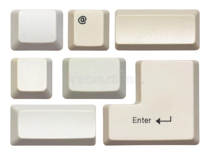 Empty computer keys. Isolated on white stock photography