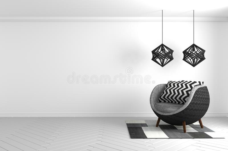 Mock up Empty concept - Modern black and white composition with art lamp and modern sofa and carpet texture art. 3D rendering vector illustration