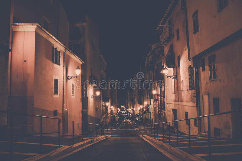 Empty Concrete Road In The Middle Of Concrete Buildings At Night Free Public Domain Cc0 Image