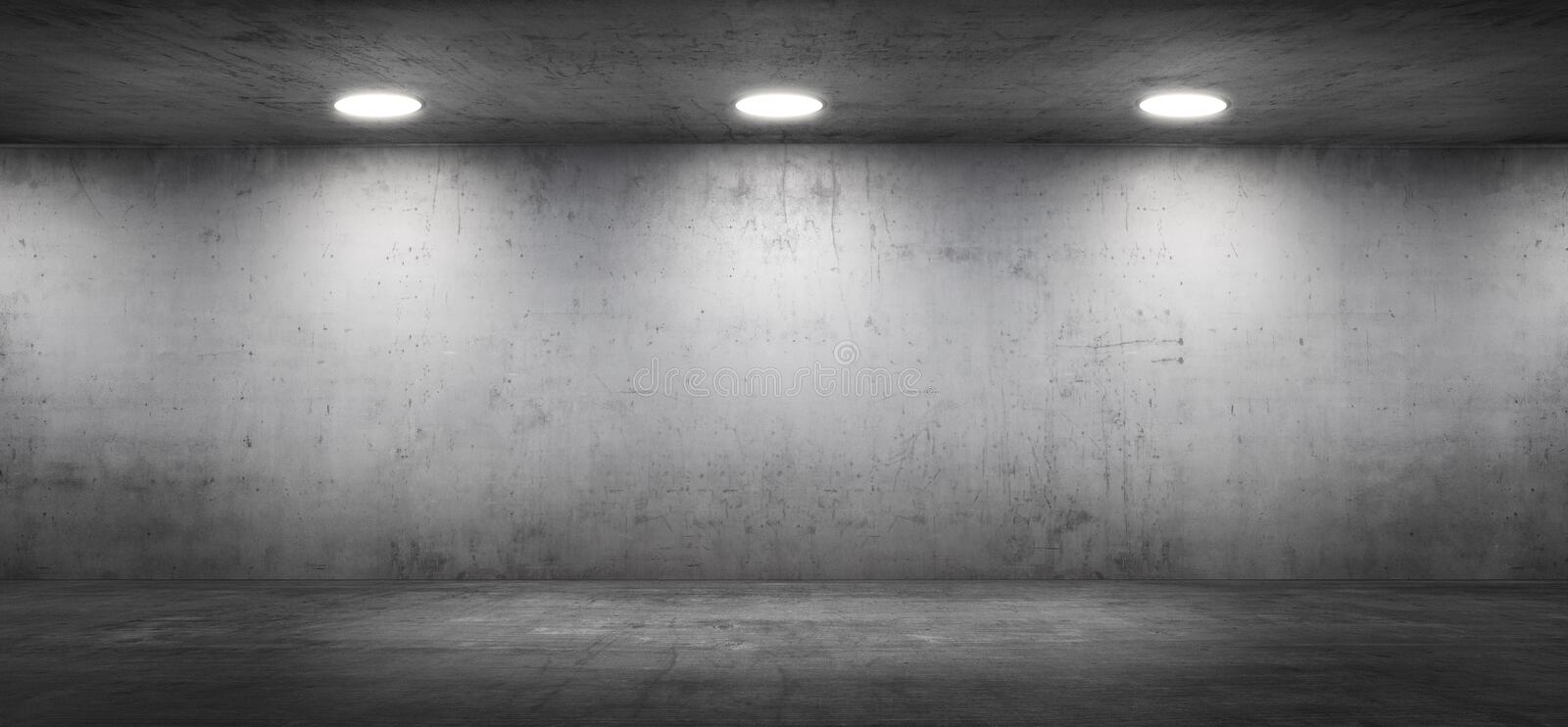 Empty Concrete Wall Showroom Modern Garage Interior with Floor stock photography