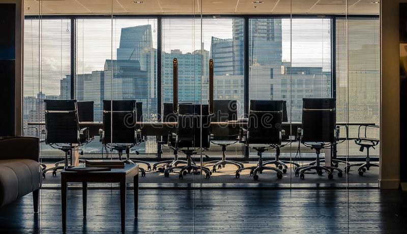 Empty conference room workspace showing cityscape skyline royalty free stock photos