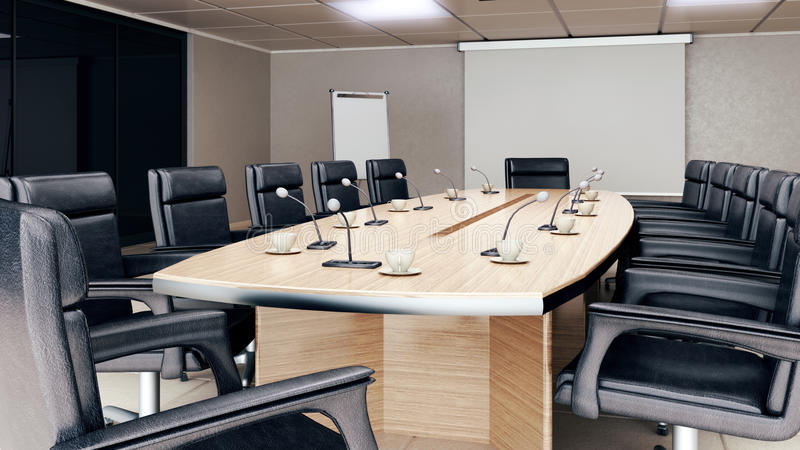 Empty conference room interior stock photos