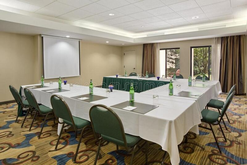 Empty conference room table royalty free stock photos