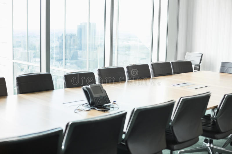Empty conference room with telephone royalty free stock photo