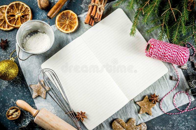 Empty cookbook for Christmas recipes royalty free stock photos