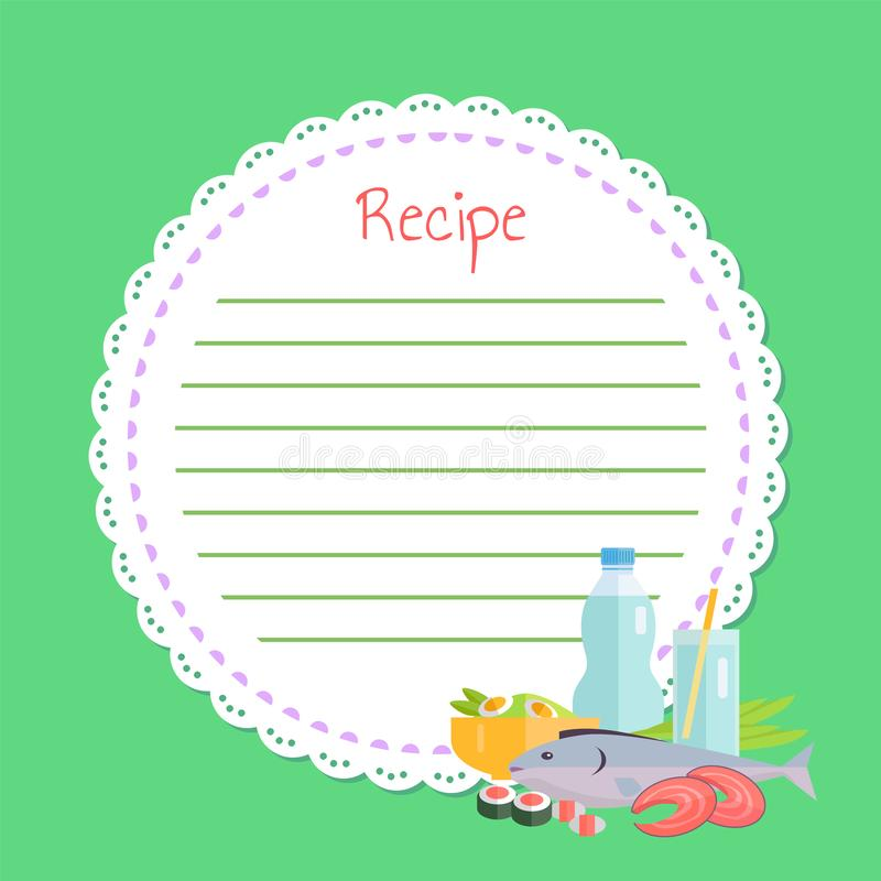 Empty Cookbook, Sushi and Fish, Japan Food Vector. Circle white empty list for noting recipe, cookbook decorated seafood, slices of fish, salmon and sushi royalty free illustration