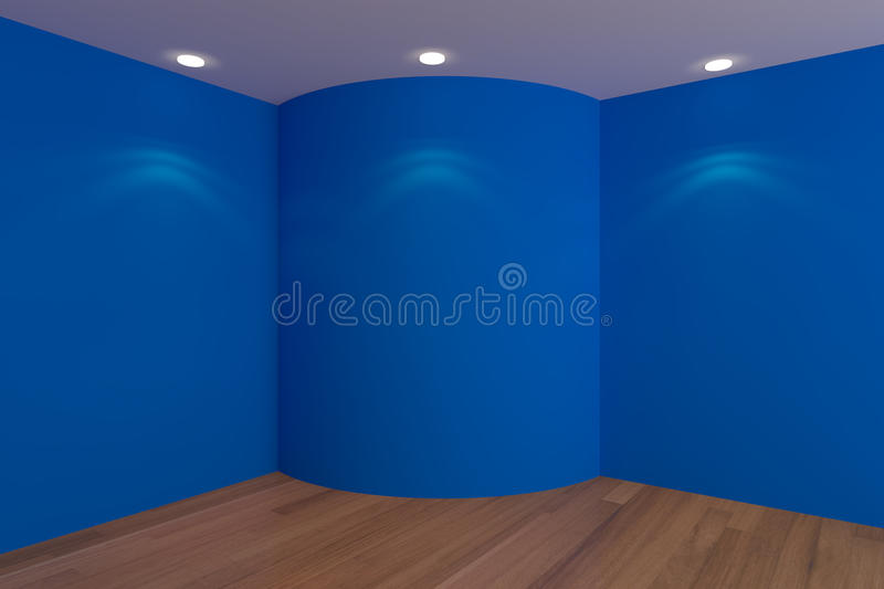 Empty Corner Room Blue Curve Wall Royalty Free Stock Photo