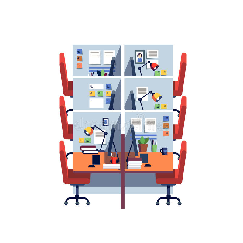 Empty corporate cubicle office work space interior royalty free illustration