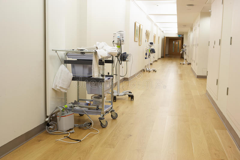 Empty Corridor With Medical Equipment In Modern Hospital royalty free stock photography